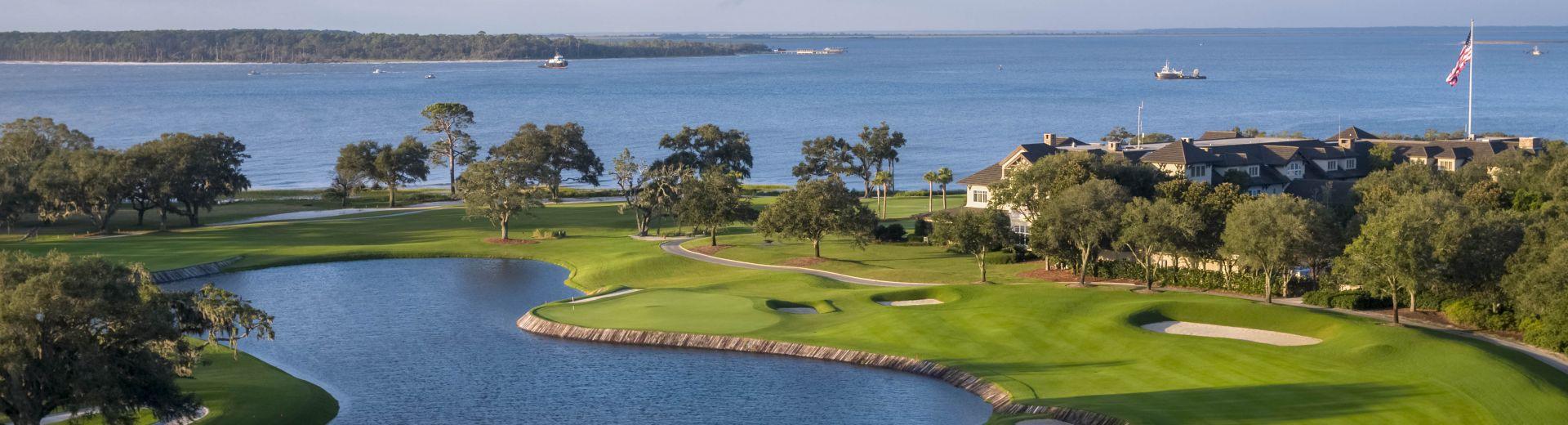 An early morning photo of the Seaside Course at Sea Island Club in Sea Island Georgia overlooking the Atlantic Ocean